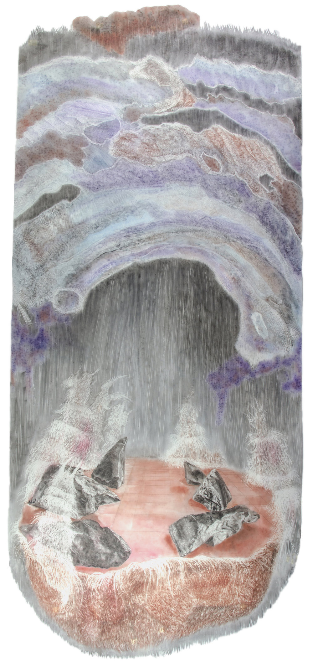 Untitled I (40 inches x 79.5 inches-pastel and powdered graphite erasing on dura-lar)