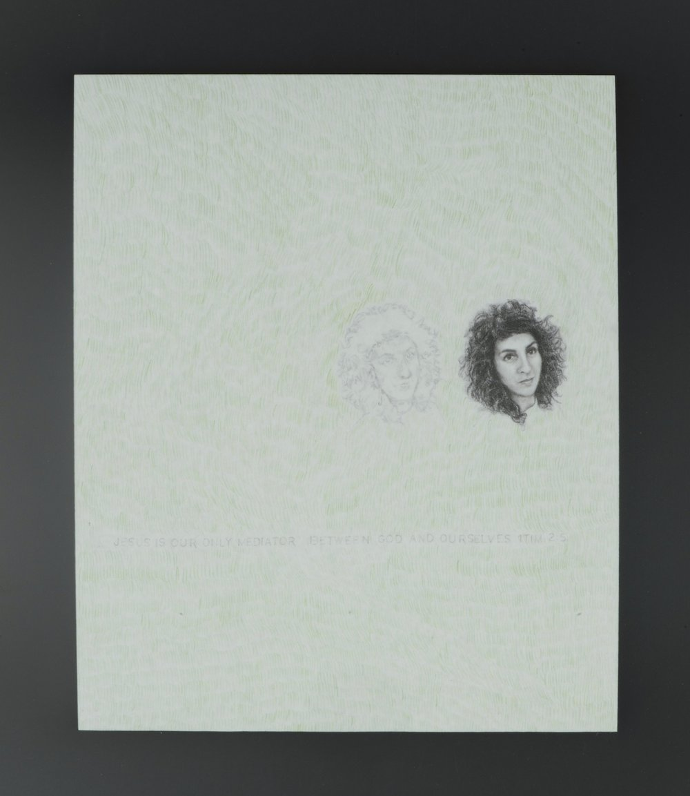 SELF-PORTRAIT AND THE TRINITY  colored pencil, graphite on computer paper, matte lamination  12.5in.  X  15in.  Text: Jesus Christ is the only mediator between God and ourselves 1Timothy 2:5