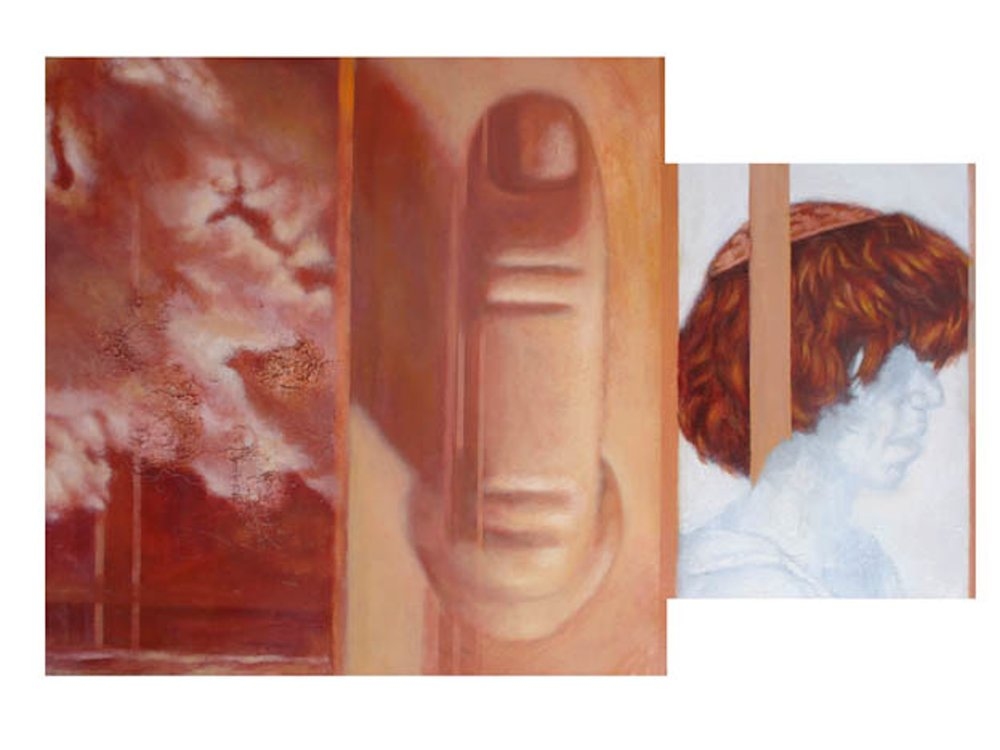 PALINDROME  artists' hair, oil, graphite on leather on wood  24in. x 32in.  Private Collection