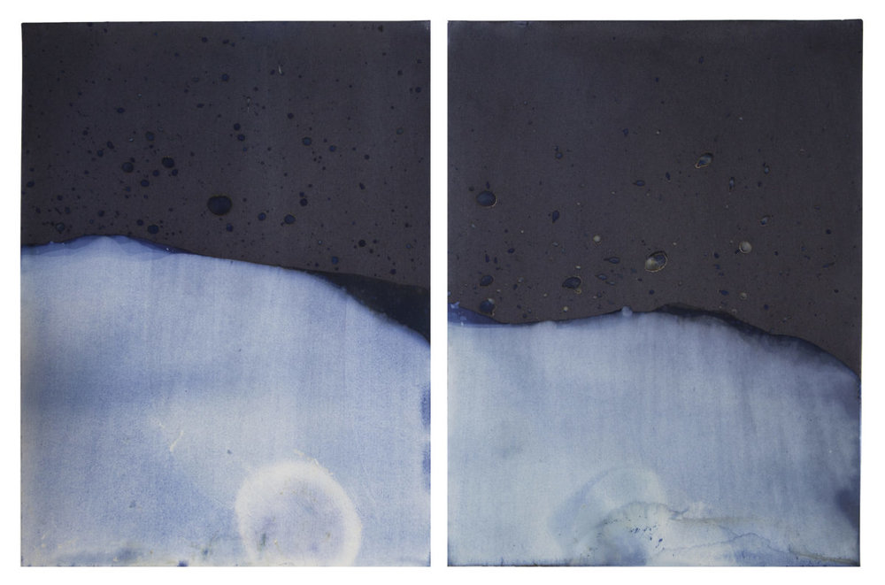 Meghann Riepenhoff, Muybridge Tides #08 (Rapidly Submerged Paper, Snake River, WY, 09.23.17), 2017, signed in pencil verso, two dynamic cyanotypes, 12 x 9 inches, approximate mount 16 x 24 inches, unique (JFA 32190)
