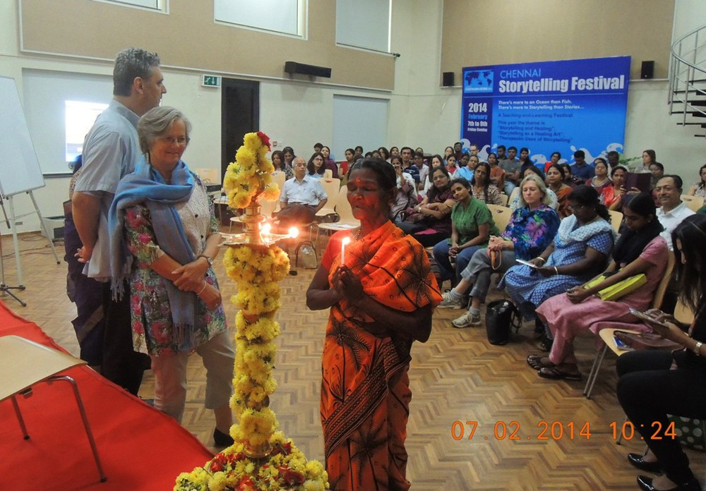 Lighting the Sacred Story Lamp - Chennai Storytelling Festival 2014