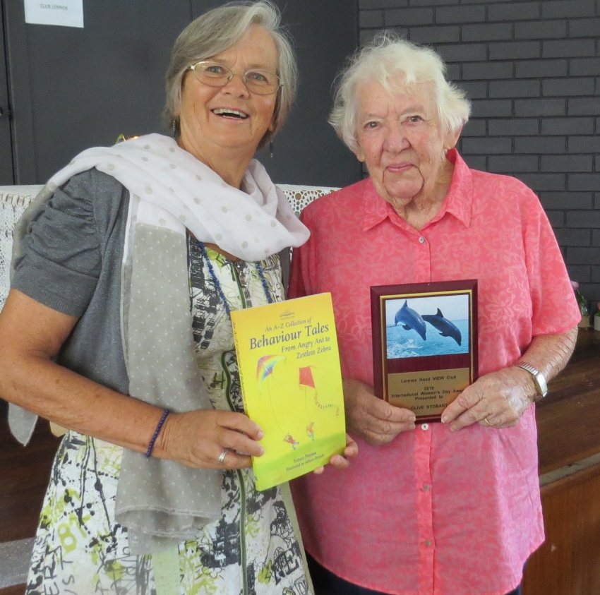 Guest speaker, International Woman's Day - pictured with Olive Stobart, Lennox Head VIEW Club 'Woman of the Year'.