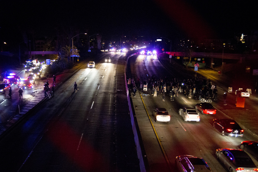 Protesters on the 101, Los Angeles.