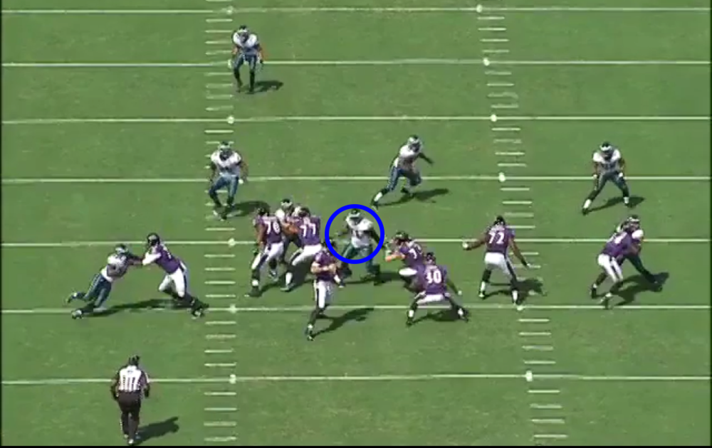 And he tosses the All-Pro to the ground in one move. Hello, Joe Flacco.