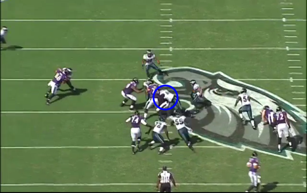 Wait, not anymore. Now he's at the other hash, making the tackle on Ray Rice.