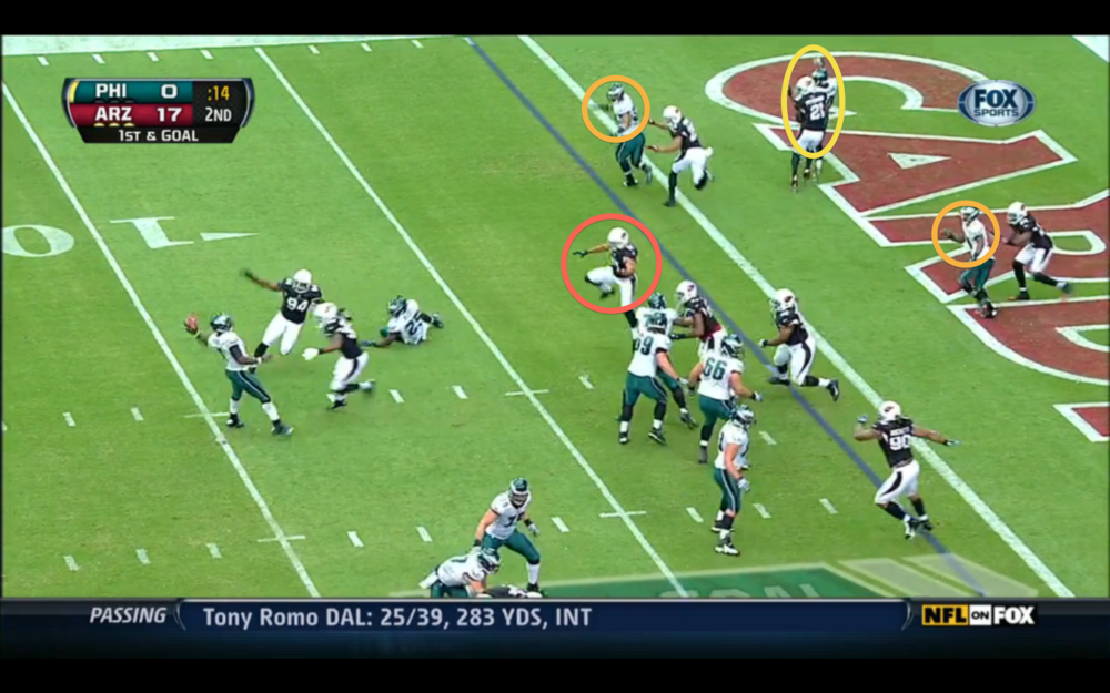 The defender in red probably would have gotten any pass to Johnson. Vick throws it away.