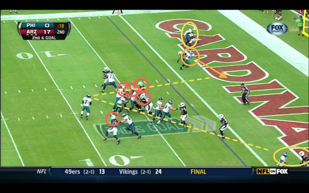 Vick's best option is Harbor breaking free, but he can't actually see him.