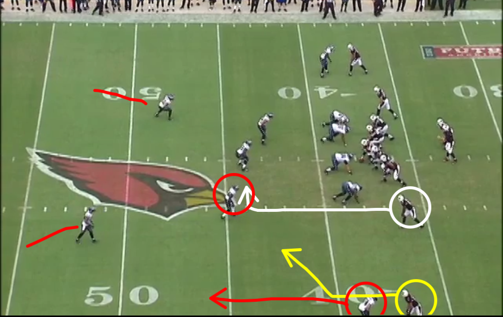 Eagles are in Cover 2. Fitz runs a slant away from Nnamdi.