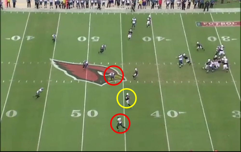 Nnamdi stays outside, Boykin drawn to slot receiver. Easy catch and run for Fitz.