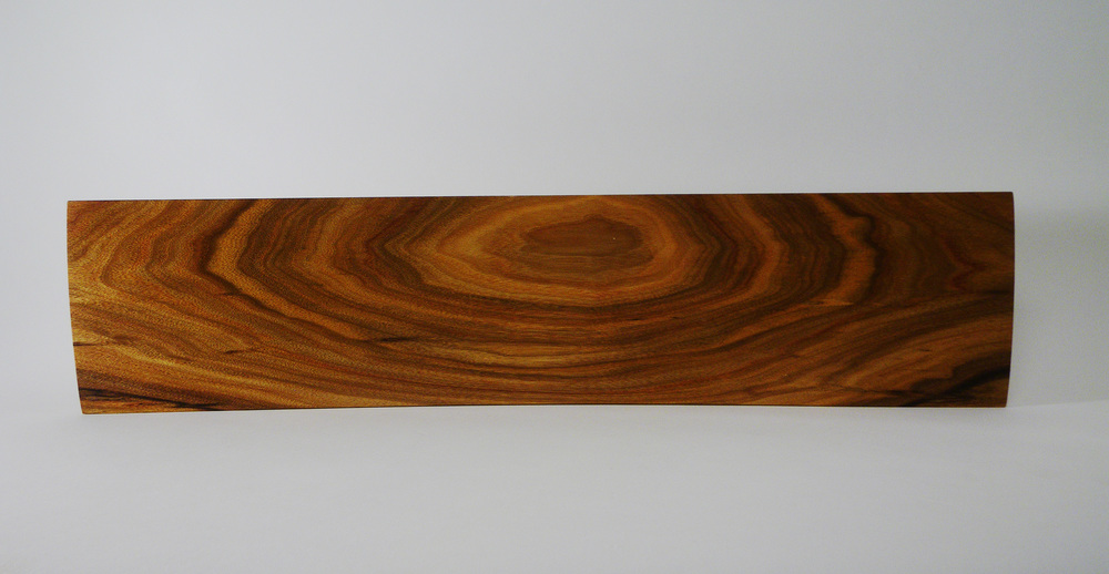 "Beautiful Canarywood platter, 8"" x 22""."