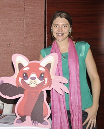 App Author, Lauren Freeman with Laloo the Red Panda