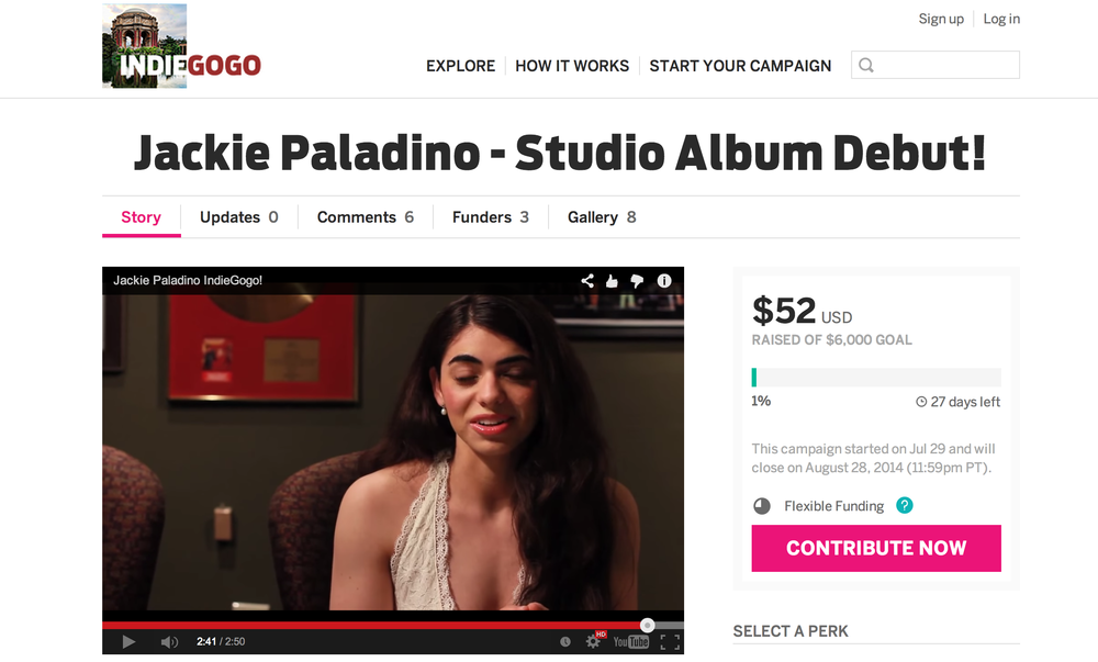 Jackie is raising money for her Studio Album Debut! Check it out at:   https://www.indiegogo.com/projects/jackie-paladino-studio-album-debut
