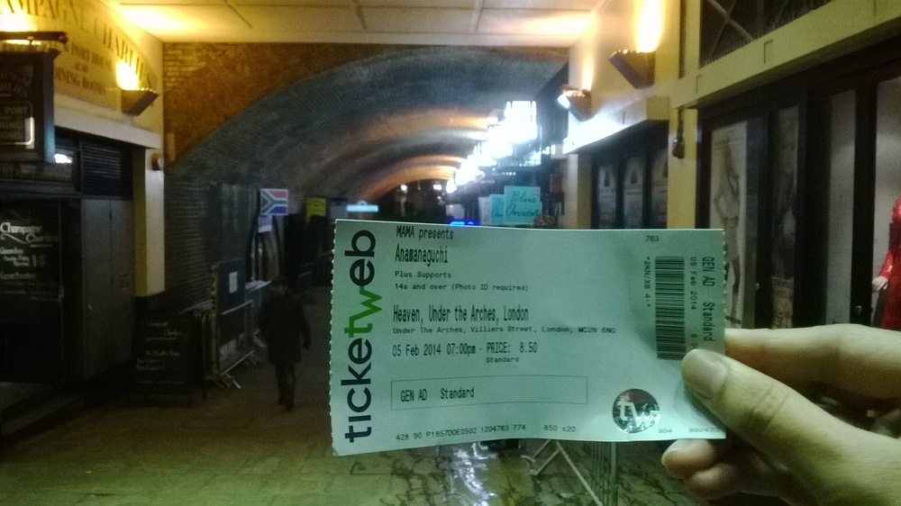 Me with my ticket to the gig... I hadn't been to the venue before so was pretty excited to see what it was like.