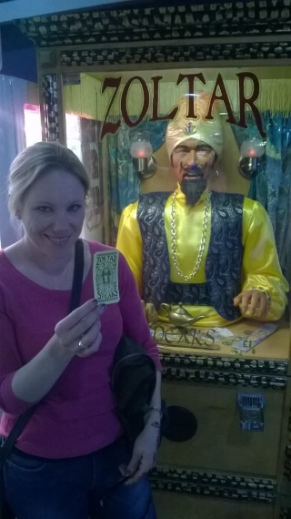 My wonderful wife with her 'Zoltar Speaks' card...