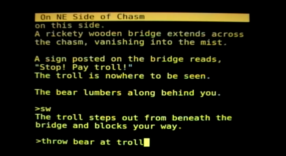 Colossal Cave Adventure proved extremely popular around mainframe universities.