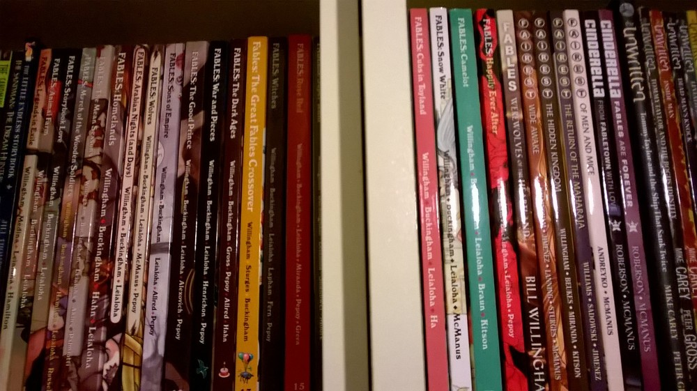 My Fables collection. There have been a few offshoots and they are great too!