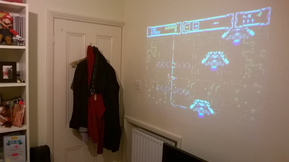 The Megadrive Portable connected to the projector