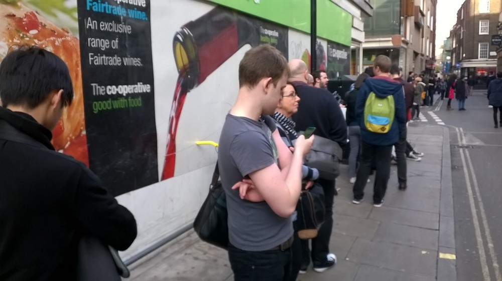 Queue outside Gosh Comics