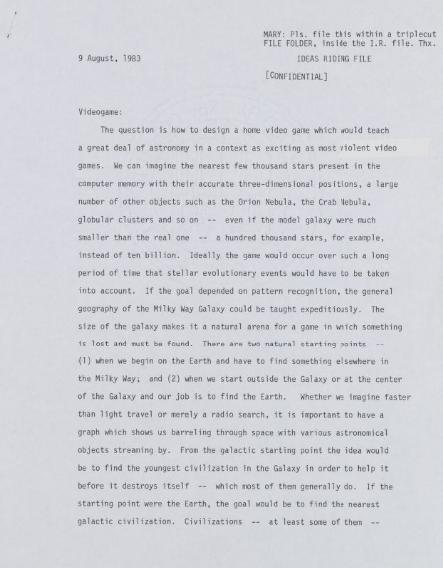Carl Sagan Contact Video Game Manuscript