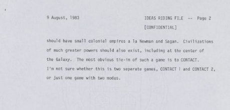 Carl Sagan Contact Video Game Manuscript