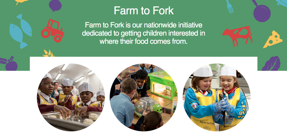 Tesco's Farm To Fork is a great initiative which allows children to find out where food comes from and its nutritional content.