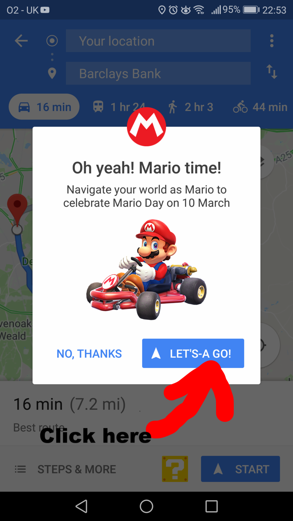 Mario Kart in Google Maps