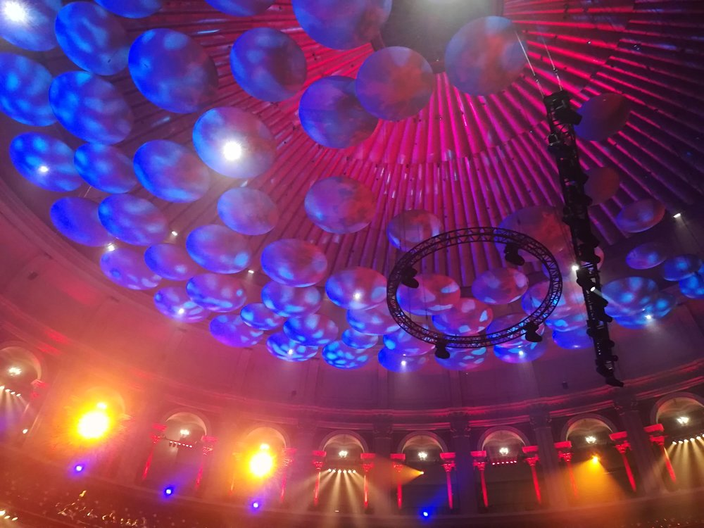 The ceiling of the Royal Albert Hall is a thing of beauty. The sound dampeners look like magic mushrooms!
