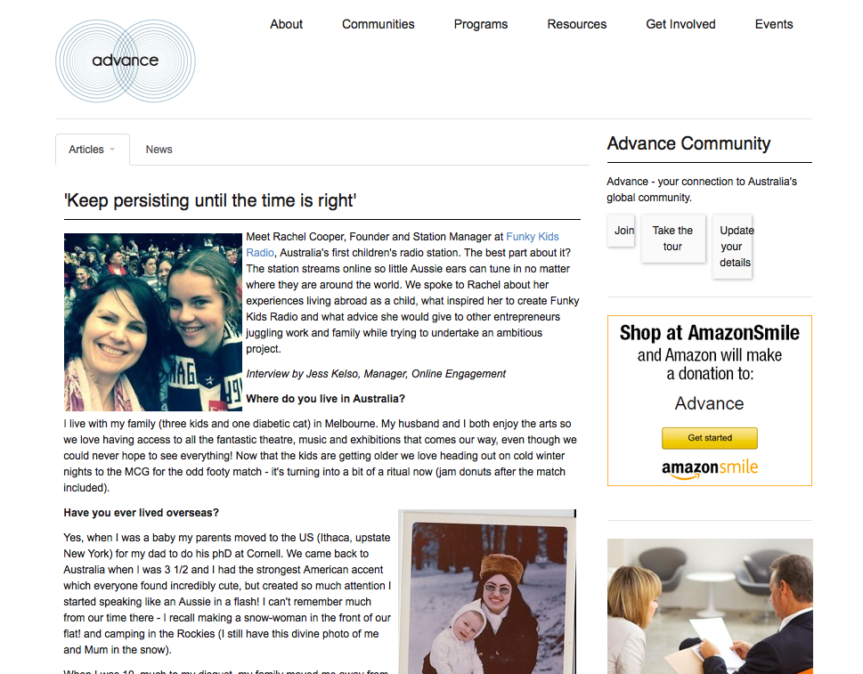 "June 2015 A great article in Advance.org!! Thank you! ""Advance is a community of global Australians who are able to make a difference for Australians, Australian companies and Australia around the globe"". - See more at: http://advance.org/about-advance/#sthash.Y15nguVj.dpuf"