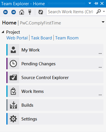 Figure: The Home hub in VS2013 Team Explorer