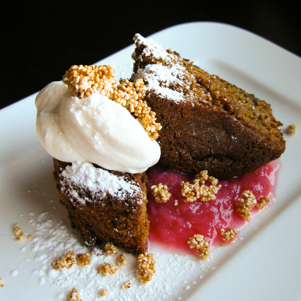 Amaranth cake with rhubarb compote and popped amaranth brittle