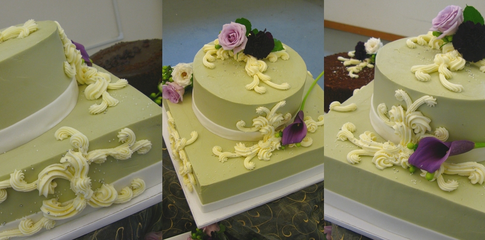 Chai spiced cake with chai spiced mascarpone; piped scrollwork, buttercream finish