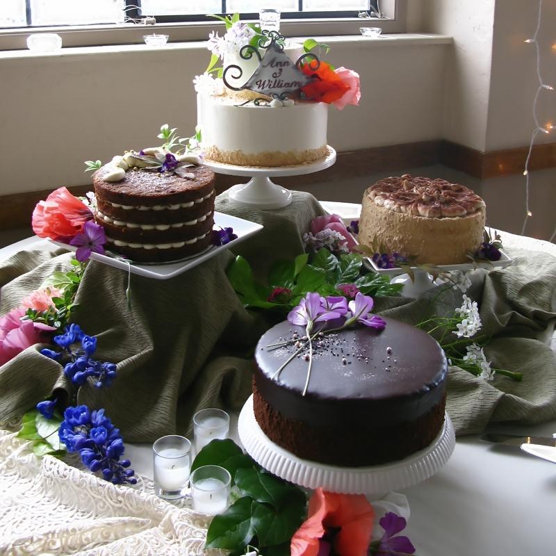 Lavender sponge cake with blueberry lavender filling,tiramisu, carrot cake, cerise noire