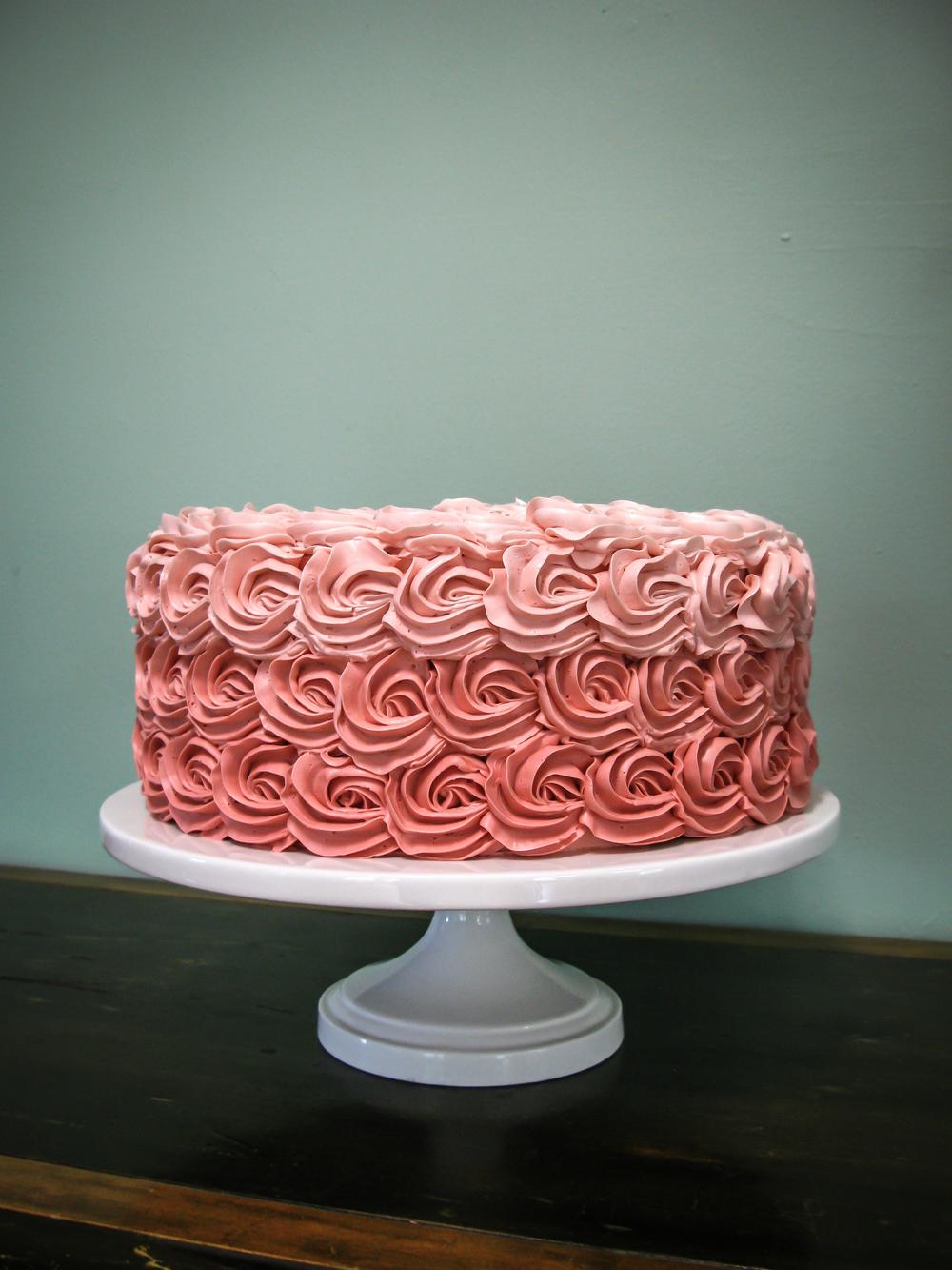 Ombré rosette cake