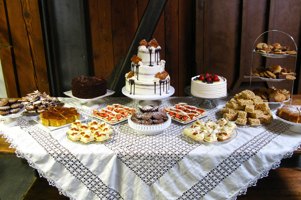 Double peanut butter cake with assorted dessert buffet