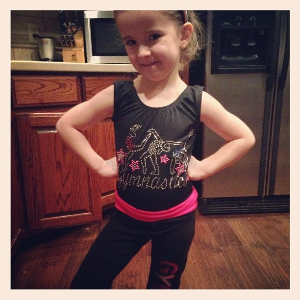 Priss modeling her new gymnastics outfit her Magga (chad's mom) got her for Christmas. Cute, huh?