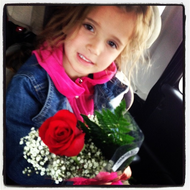 Cam happy about her surprise red rose from her daddy! ❤️