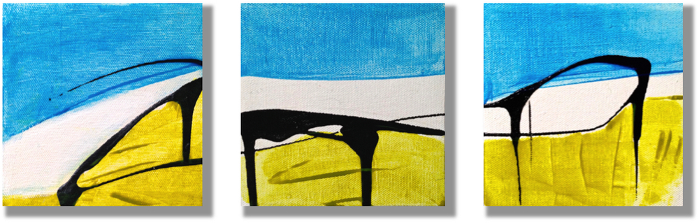 """Panorama"" acrylic triptych, Patrice Drago"