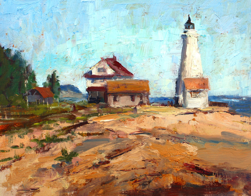 """Lighthouse on the Chesapeake"", oil, Lynn Mehta"
