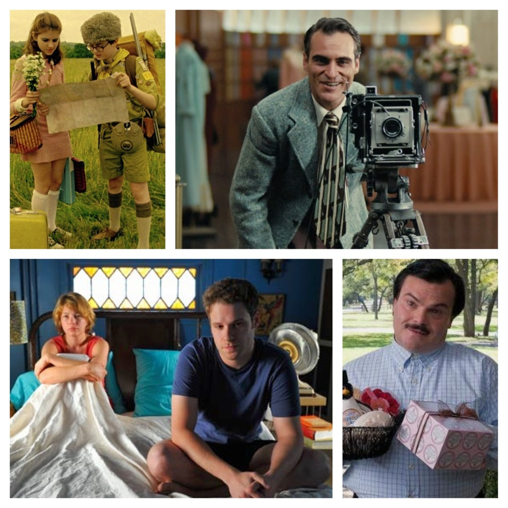 Films featured above from L to R: Moonrise Kingdom, The Master, Take This Waltz, Bernie