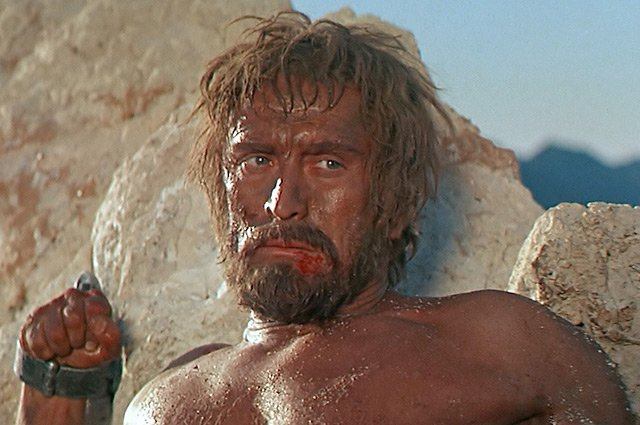 Kirk Douglas imprisoned as the titular character from Stanley Kubrick's Spartacus (1960). Perhaps one of the heroes Mitry discusses.