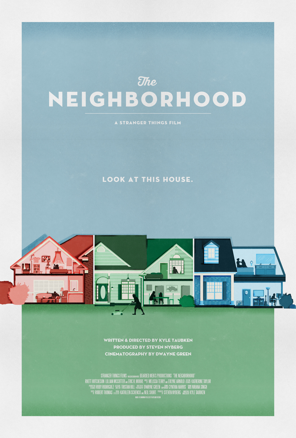 Official poster for the 2014 short film THE NEIGHBORHOOD - Written & Directed by Kyle Taubken, Produced by Steven Nyberg, Cinematography by Dwayne Green