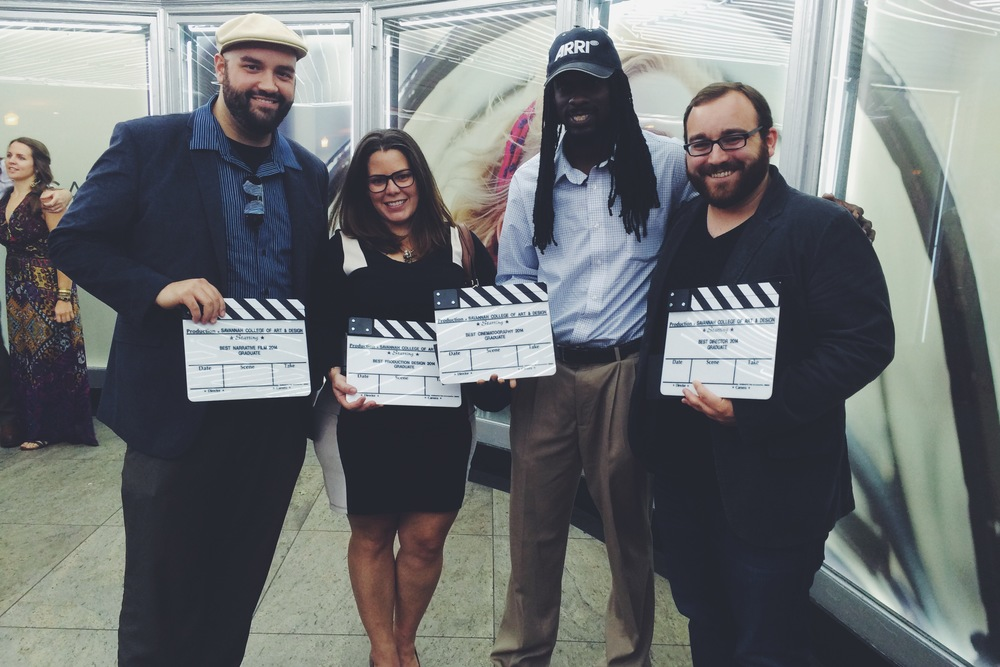 From L to R: Steven Nyberg (Producer), Ruby Rodriguez (Production Designer), Dwayne Green (Cinematographer), Kyle Taubken (Writer/Director)