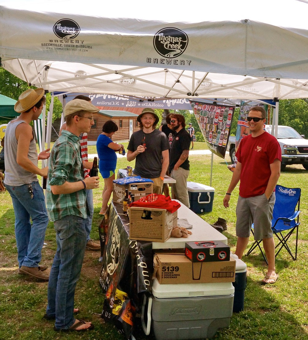 Event-goers enjoy Thomas Creek brew.
