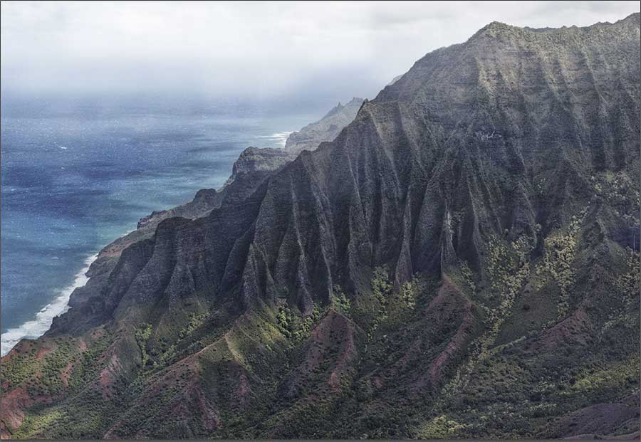 Na Pali Coast from the end of Kalpa Ridge Trail Tone Mapped HDRI Gigapixel Pano of the Kalepa Ridge Trail with a six mile northward vantage of the Kauaʻi's Na Pali Coast. VIEW ZOOMABLE INTERACTIVE FULLSCREEN
