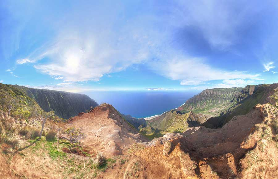 Here's the first render from the Kauai pole shoots: End of Kalepa Ridge Trail, HI 2013. 8 shots 17' up in the air from a Canon 8mm fisheye. The distortion is deceiving; what was a sheer drop off appears to be just in front of rather then below where the viewer.  Here's the 360 version of the Kalepa Ridge Trail which demonstrates the sheer drop off much better:       VIEW FULL 360 VERSION ON 360cities.net
