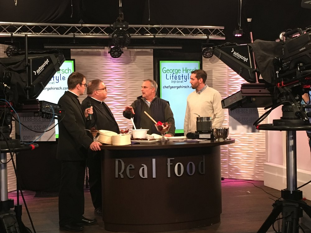 PBS chef George Hirsch & chef Alex Goetzfried Telecare TV for Hampton Baking Co.
