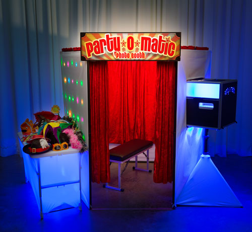 Our spacious Party-O-Matic Enclosed Photo Booth is capable of fitting 8 comfortably and is wheel chair accessible.