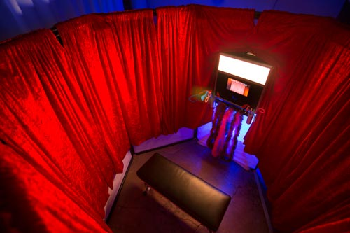 A view looking down on the interior of the Enclosed Photo Booth.