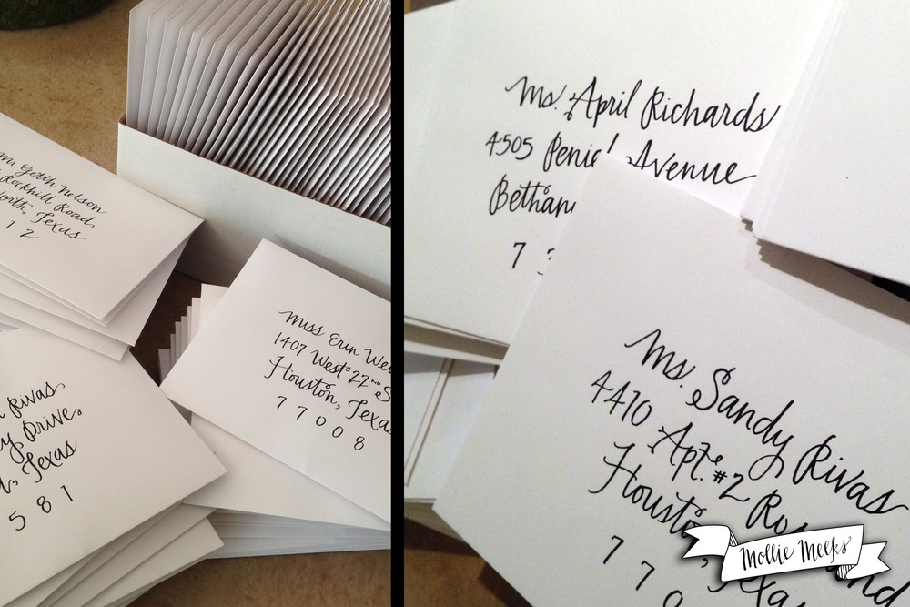 Addressing envelopes for a bride in Texas!