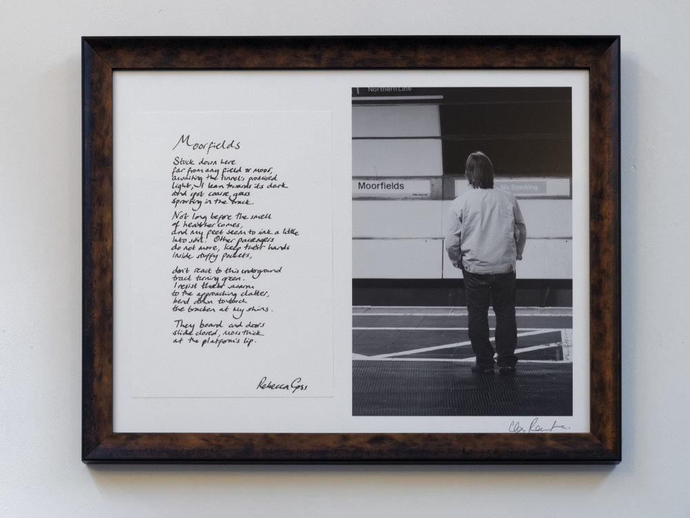 """Moorfields"" by Rebecca Goss and Christopher Routledge. Original and unique artwork. Handwritten poem and photographic print signed by both artists on archival papers. Image dimensions: 225x330mm. Total dimensions including frame: 560x440mm. Available framed or unframed. £enquire"